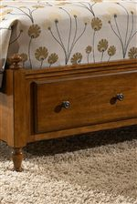 Pull Out Footboard Storage Drawers with Antique Knobs