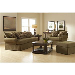 Broyhill Furniture Joella 3772 Chair and a Half & Ottoman with Skirt
