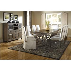 Canadel Champlain - Custom Dining Customizable Rectangular Table Set with Double Pedestal Base & Leaf