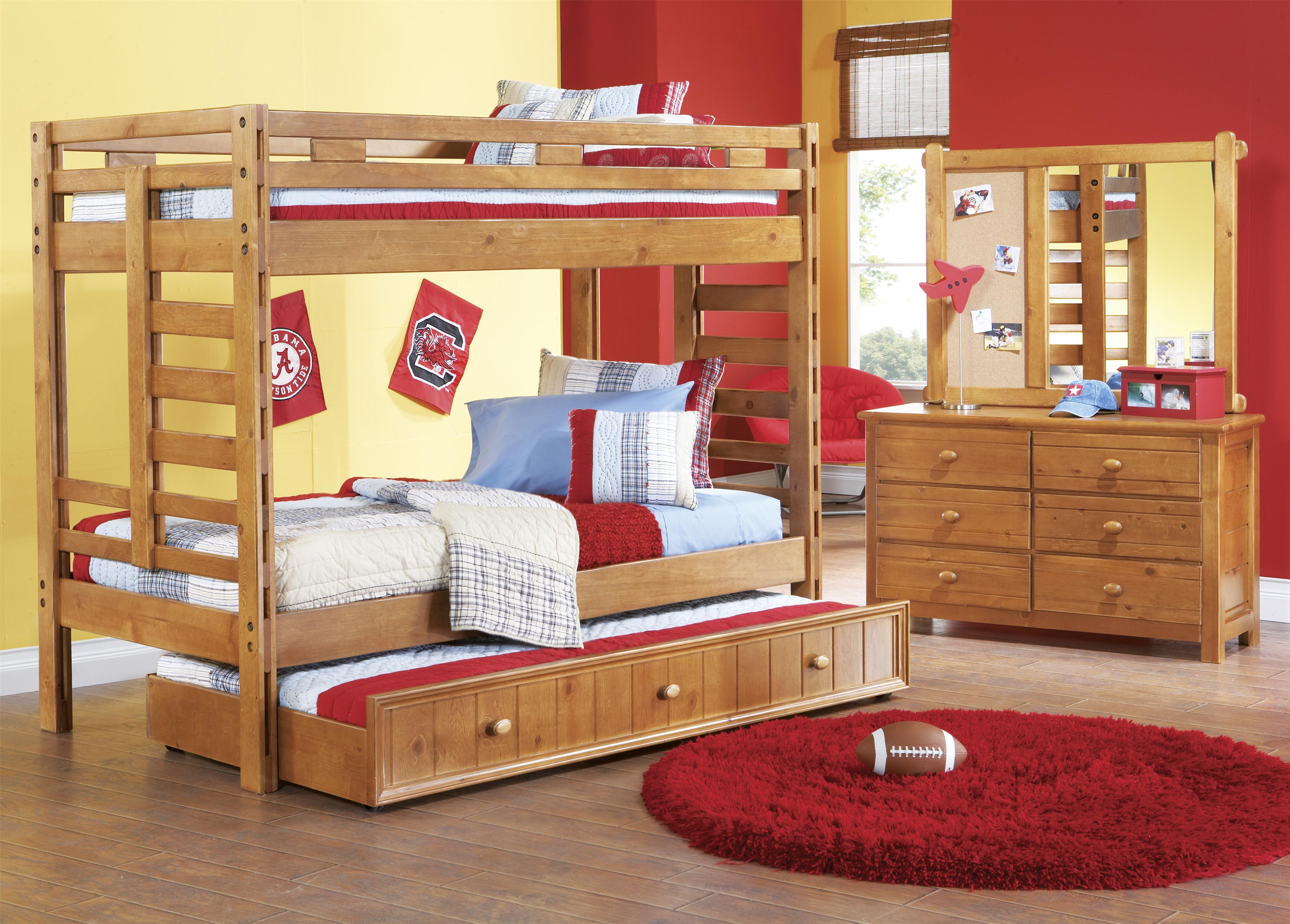 canyon creekside twin/twin loft bed w/ 2 chests and ladder