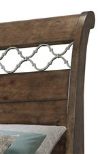 Sleigh Bed Headboard Features A Metal Motif and the Beautiful Pine Ridge Finish