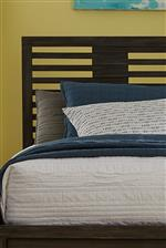 Horizontal Slat Detail on Bed Headboard Highlights Modern Geometric Lines