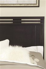 Horizontal Slatted Patterns above Headboard and Mirror