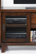 Beveled Glass Sliding Door in Wall unit Console