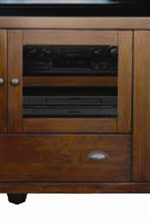 Beveled Glass Cabinet and Storage Drawer in Media Console