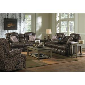 Catnapper Cedar Creek Casual Reclining Sofa with Fold Down Middle Seat with Cup Holders