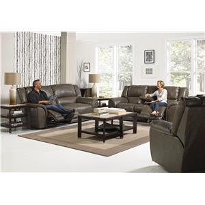 Catnapper Carmine Power Lay Flat Reclining Console Loveseat with Dual USB Port