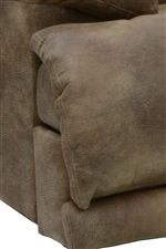 Front Base Detail of Fold-over Leg Pillow, Heel Rest, and Closed Recliner