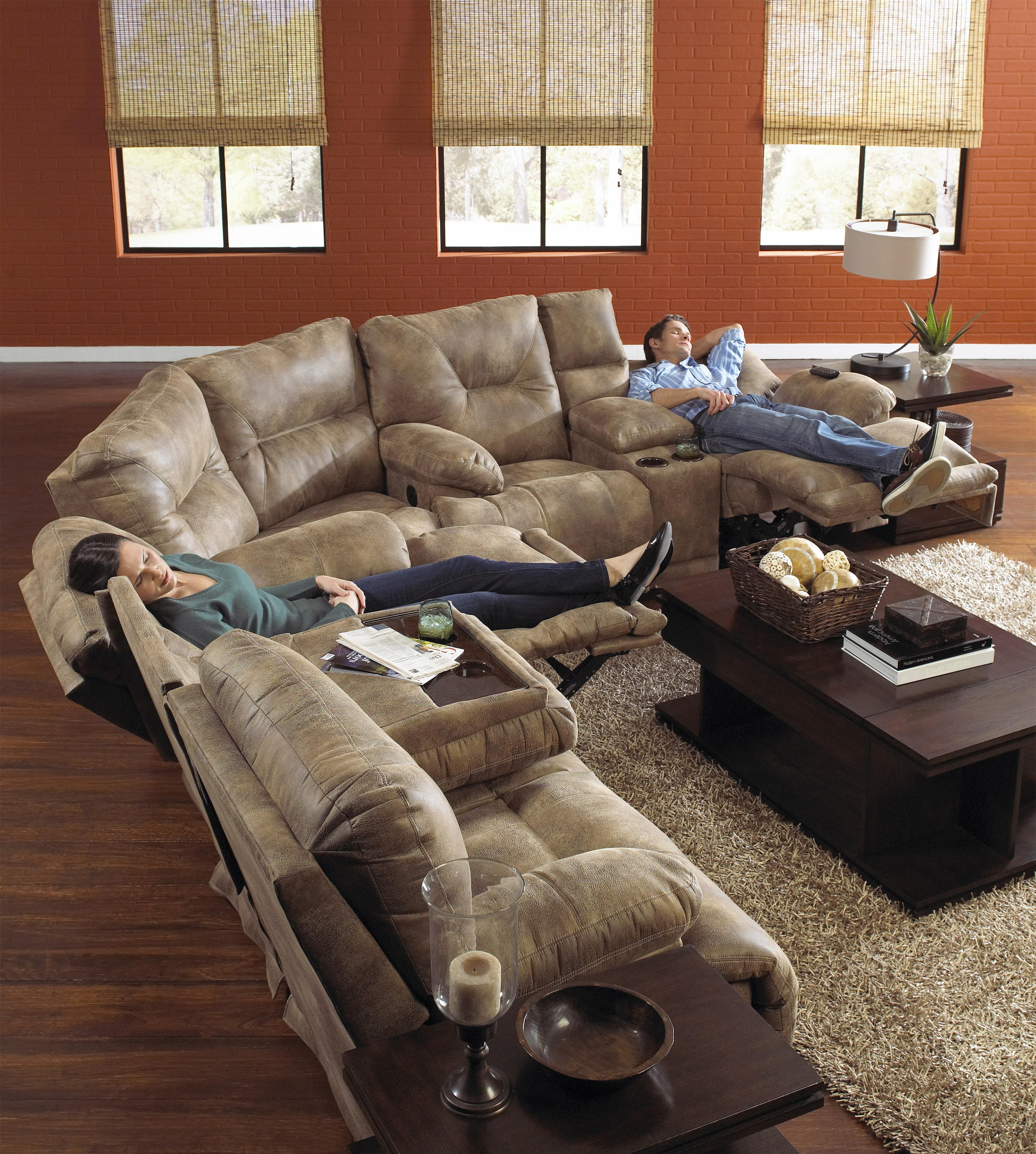"""Catnapper Voyager 3 Seat """"Lay Flat"""" Reclining Sofa with Fold Down"""