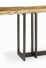 Tabletop is Slab of Unclaimed Wood with L-Shaped Pedestal Base.