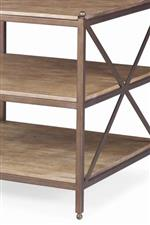 Bronze finish adds a luxurious complement to the natural tones of the wood