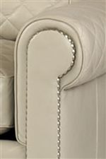 Large Roll Arms with Brushed Nickel Nail Head Trim