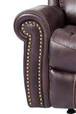 Rolled Arms with Nailhead Trim Provide a Tailored Element