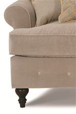 Exposed Carved Feet & Decorative Button Trim