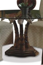 Cmi Ledo Round Glass Dining Table With Palm Tree Pedestal