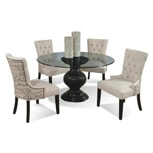 CMI Serena 5 Piece Contemporary Round Glass Table and Upholstered