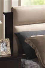 Plush Tan Microfiber Headboard Creates Rich Contrast