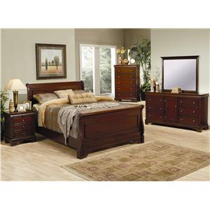 Coaster Versailles California King Sleigh Bed with Deep Mahogany Stain