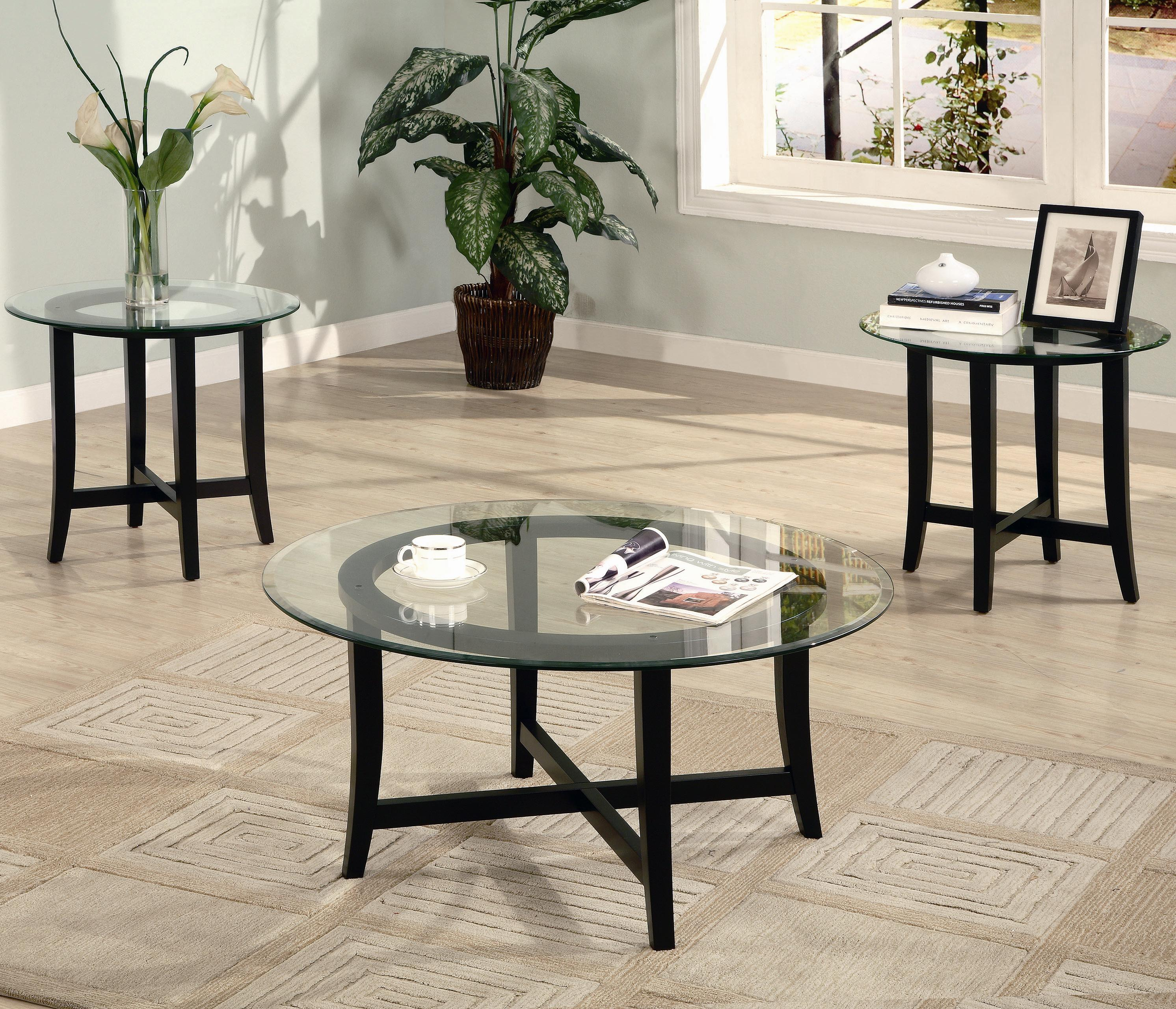 Coaster Occasional Table Sets Contemporary 3 Piece Occasional Table Set  With Glass Tops   Value City Furniture   Occasional Groups