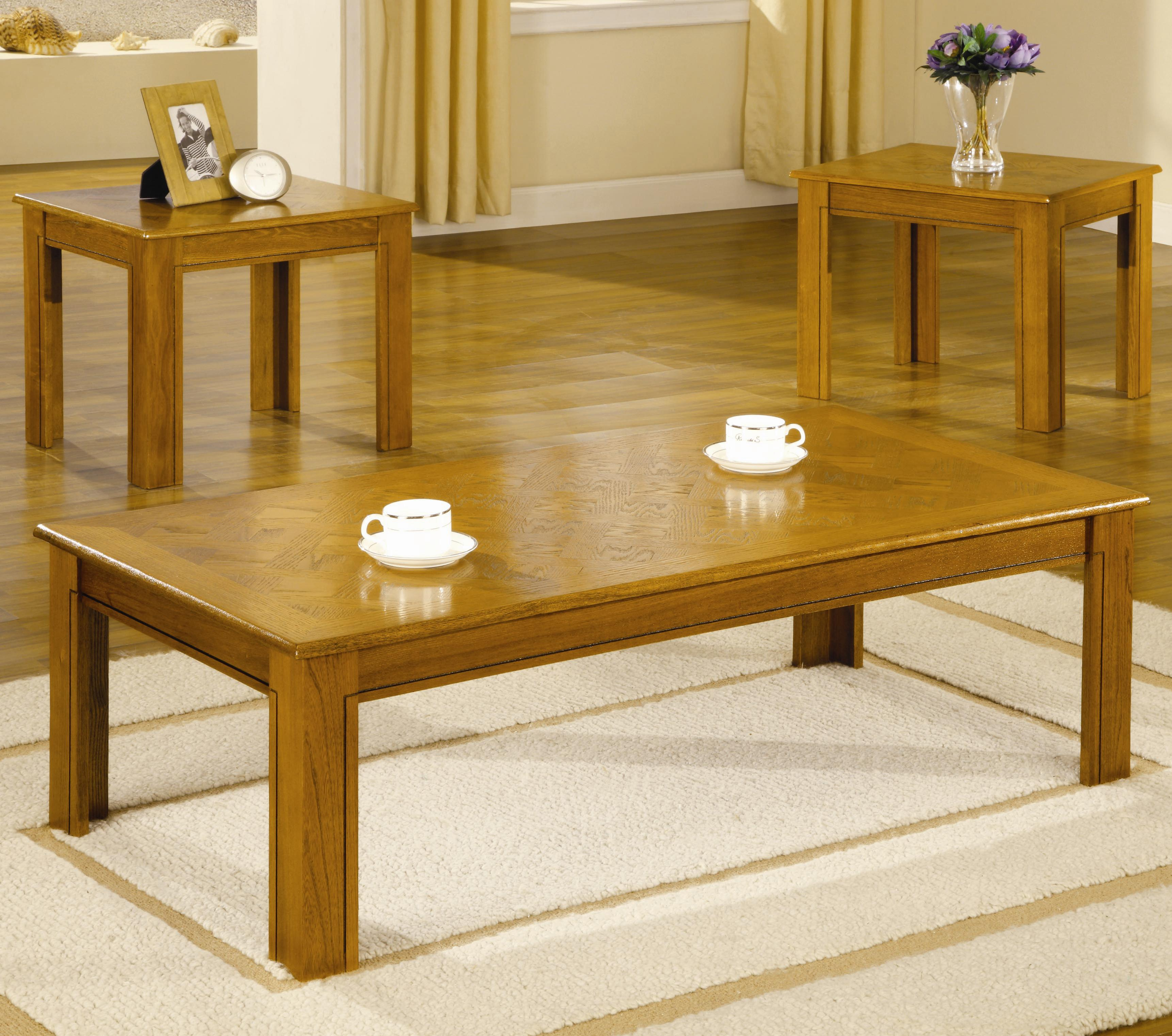 Coaster Occasional Table Sets 3 Piece Parquet Top Occasional Table Set    Value City Furniture   Occasional Groups
