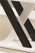 X Shaped Supports in Black and White Finish Create Modern Look