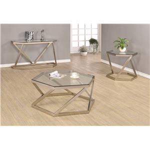 Coaster 70400 Metal Sofa Table w/ Glass Top