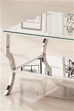 Mirrored Shelf, Shiny Chrome Frame, and Clear Tempered Table Top