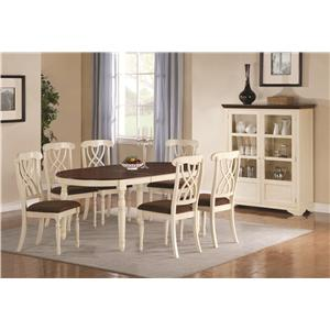 Coaster Addison Dining Side Chair with Double Waved X-Back Design & Two Front Turned Legs