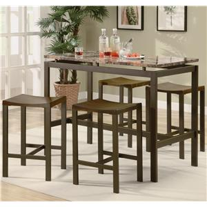 Coaster Atlus Counter Height Contemporary Brown Metal Table with Marble Look Top and 4 Stools