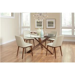 Coaster Barett Mid Century Modern Dining Table with Glass Top