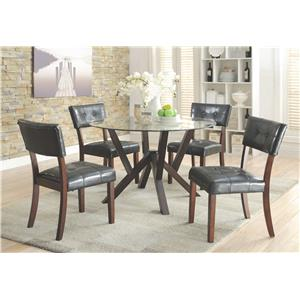 Coaster Beaux 5 Piece Round Glass Top Table Set