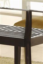 Bold Angular Legs Support Unique Slatted Shelf