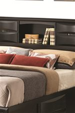 Bookshelf Headboard with Sliding Cabinet Doors