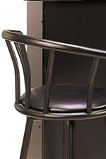 Simple Metal Stool Back Above Faux Leather Swivel Seat