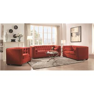 Coaster Cairns Stationary Sofa with Tufted Back and Lumbar Pillows