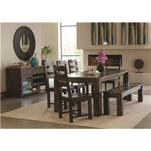 Coaster Calabasas Contemporary Dining Table with Wavy Wood Grain