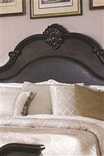 The Cambridge Headboard Features Leather-Like Upholstered Panels and Beautiful Sea Shell Carving Detail