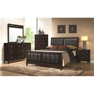 Coaster Carlton Upholstered King Bed with Paneled Upholstery