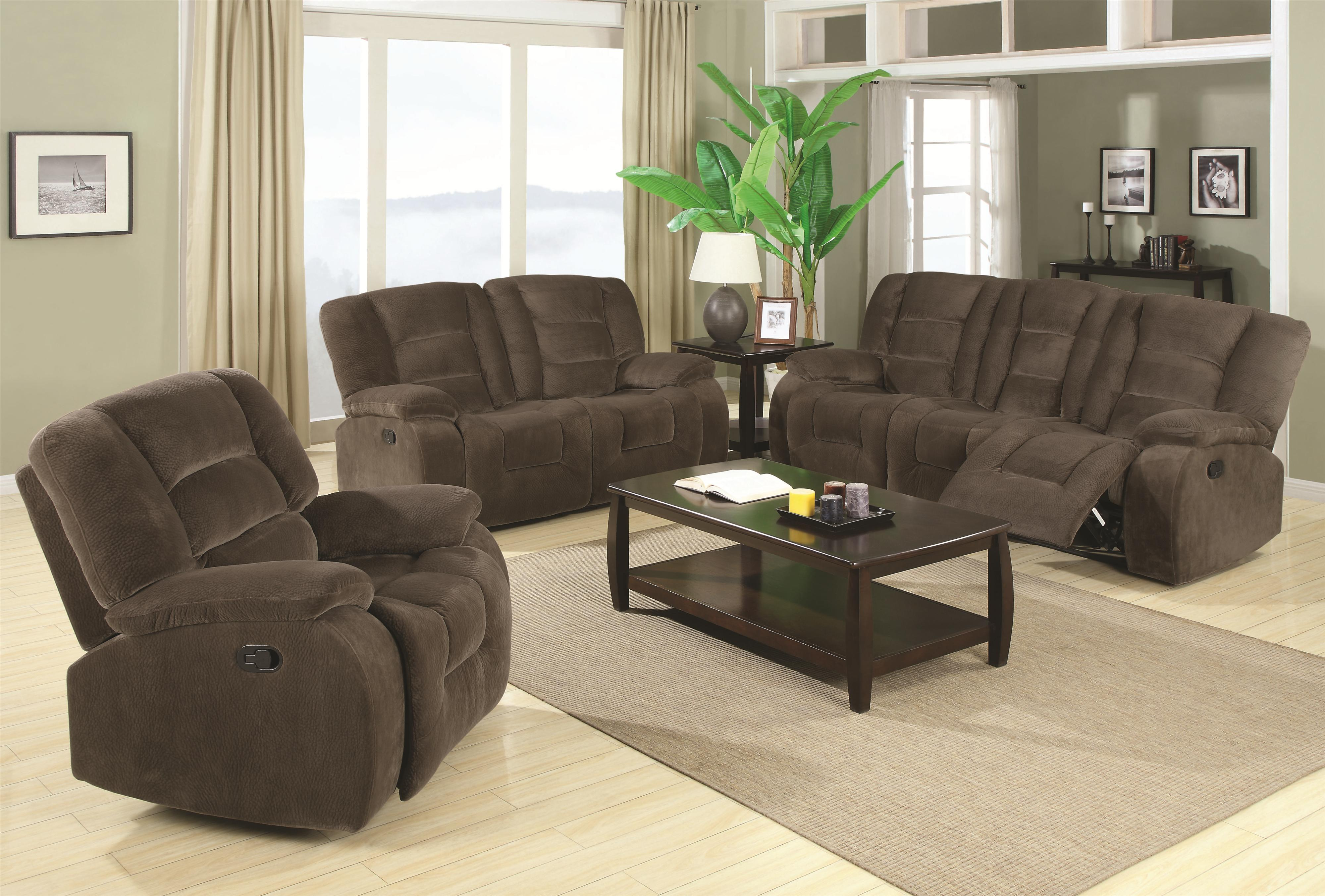 Coaster Charlie Reclining Living Room Group - Item Number: 600990 Living Room Group 1