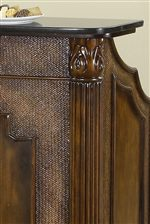 Beautiful Fluted Columns, Carved Detail, and Textural Faux Wicker Panel Below Marble Top