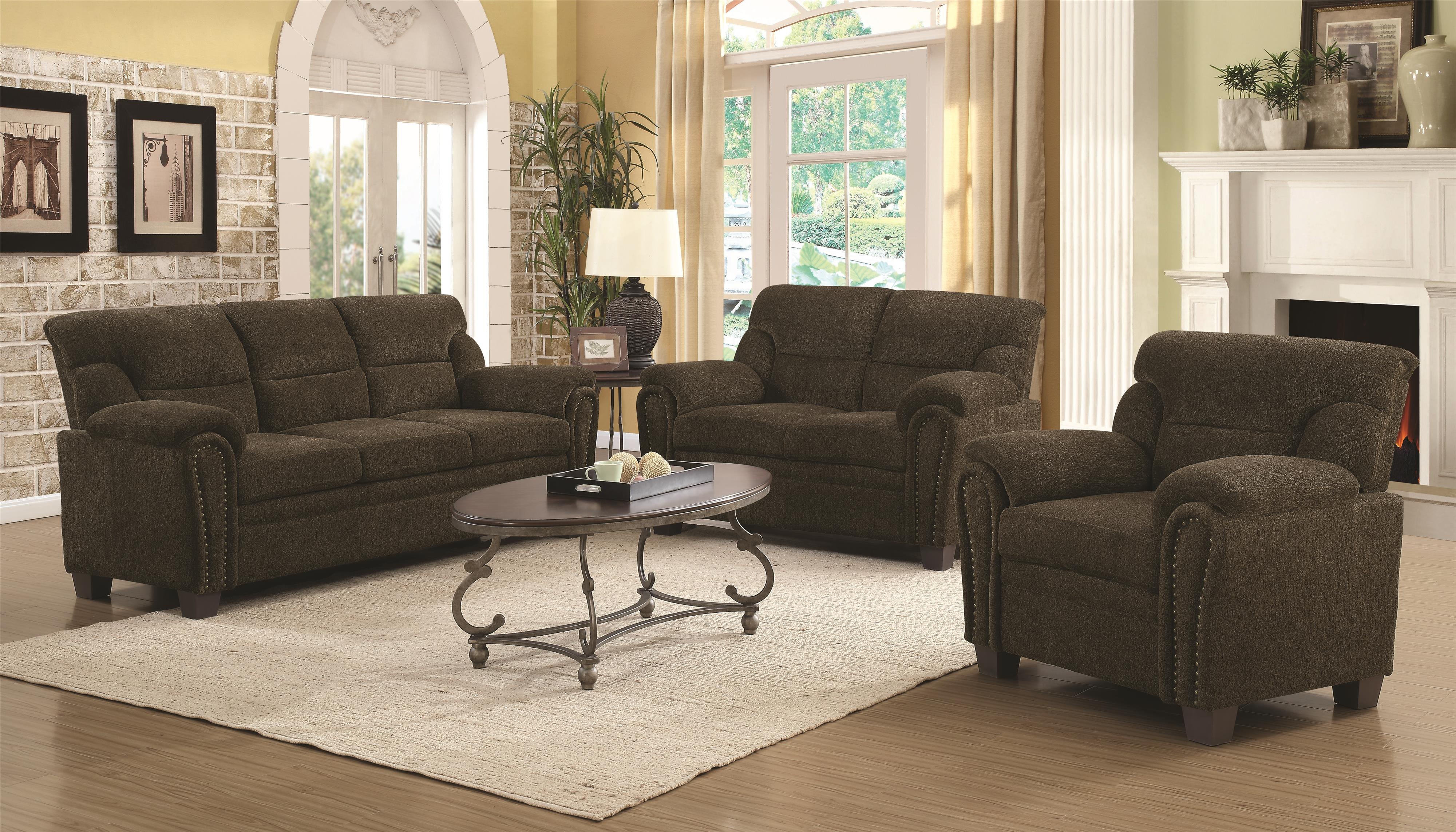 Coaster Clemintine by Coaster Stationary Living Room Group - Item Number: 50657-Group-1-Brown