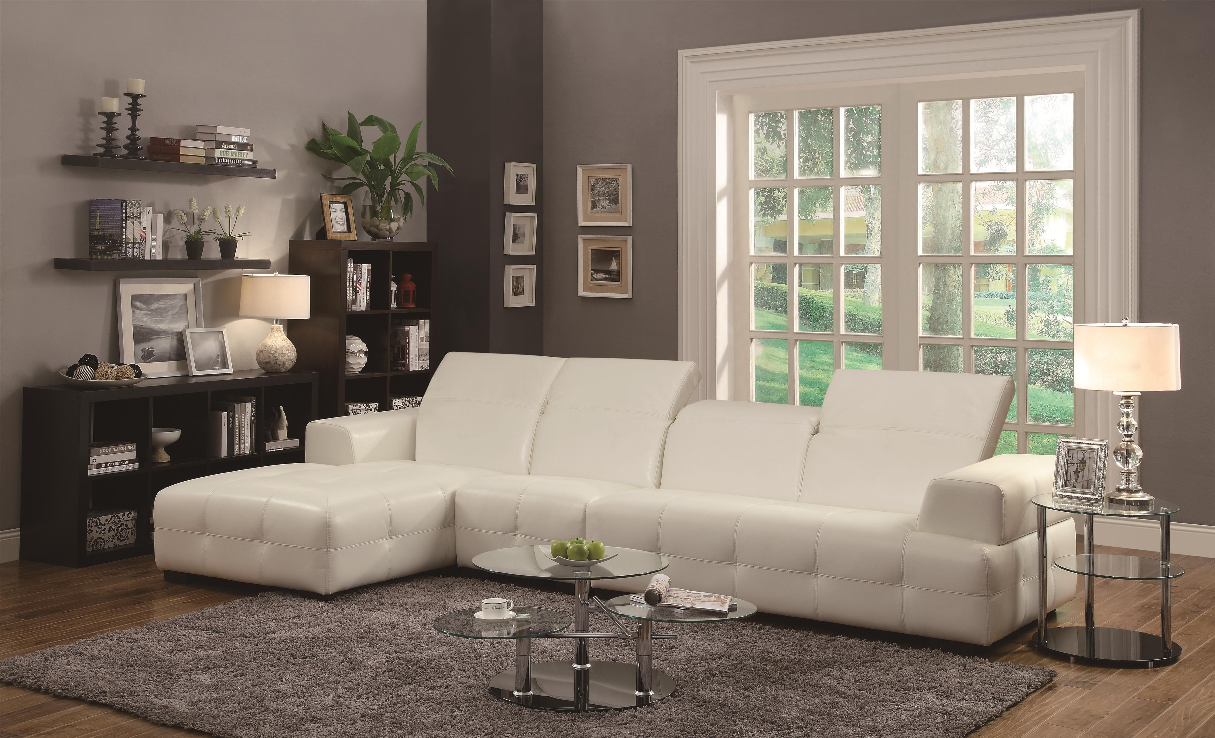 Coaster Darby Contemporary Sectional Sofa with Wide Chaise and
