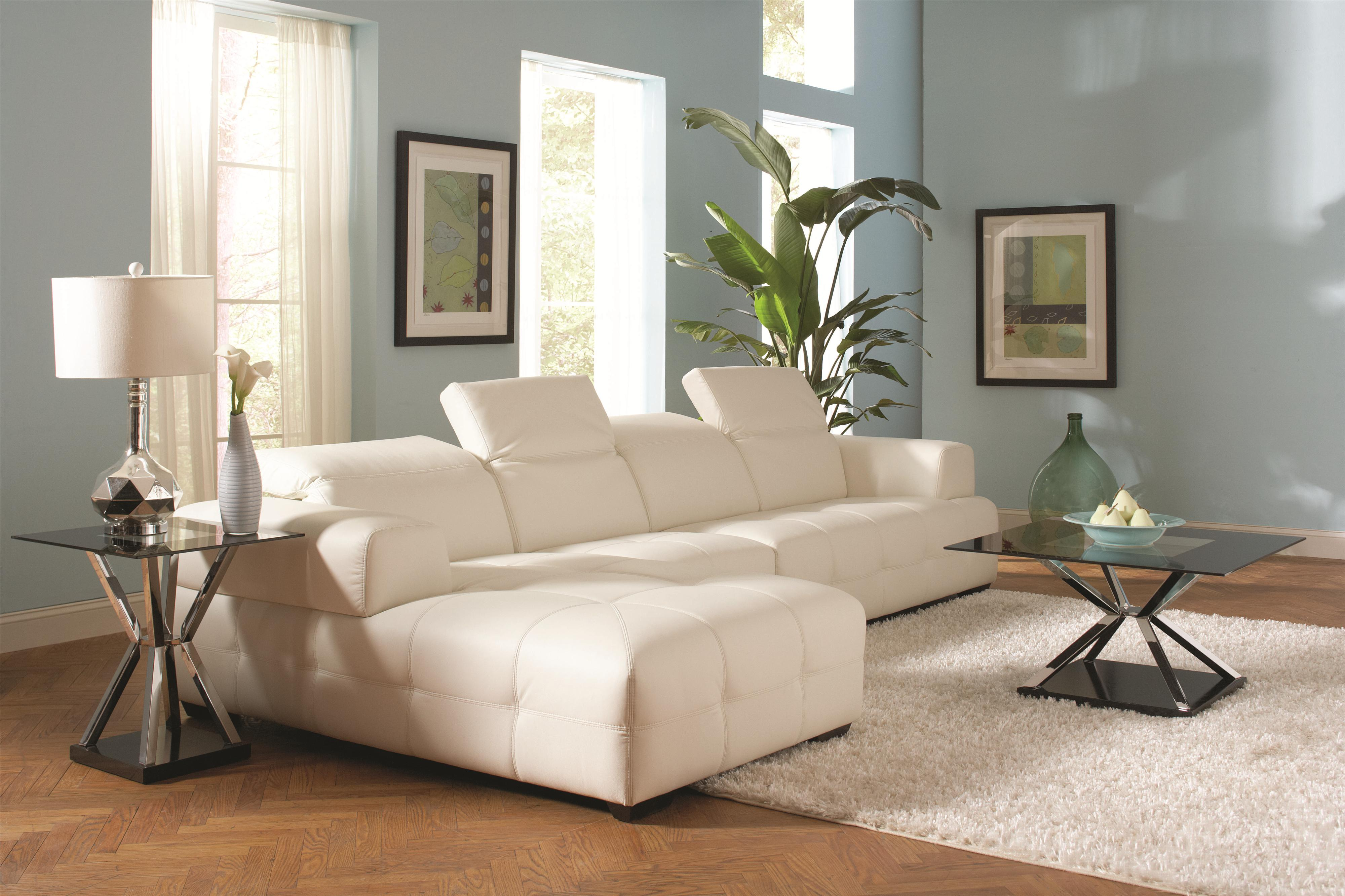 Coaster Darby Contemporary Sectional Sofa with Wide Arms Value