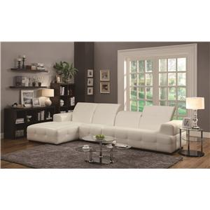 Coaster Darby Contemporary Sectional Sofa with Wide Chaise and Adjustable Headrests