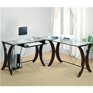 Coaster Division Table Desk with Glass Top