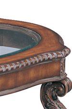 Elegant Carved Wood Frame with Sleek Inlaid Glass Center