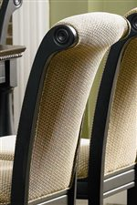 Elegant Rolled Chair Back with Rich Textural Golden Fabric