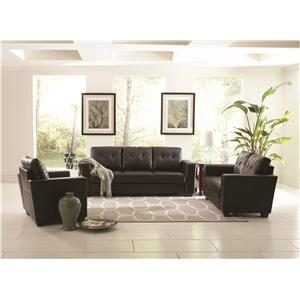 Coaster Enright Black Leather Chair with Loose, Tufted Back Cushion and Track Arms