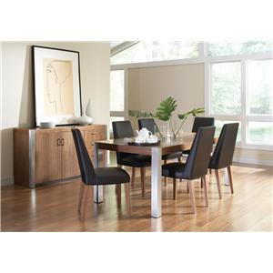 Coaster Faccini Rectangular Wood Dining Table with Stainless Steel Legs
