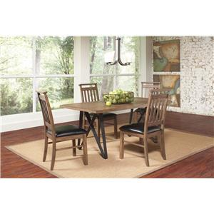 Coaster Ferguson 5 Piece Industrial Table Set with Slat Back Side Chairs